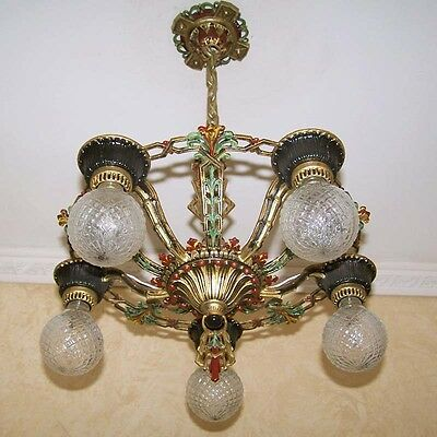972 Vintage 20s 30s Ceiling Light  aRT Nouveau Polychrome Chandelier 7
