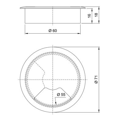 2x 65mm Computer Schreibtisch Klappbar Tülle Tisch Kabelbinder Auslass Wire Etui