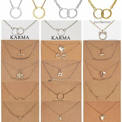 Fashion Women Animal Heart Necklace Charms Pendant Clavicle Chain Jewelry Card 3
