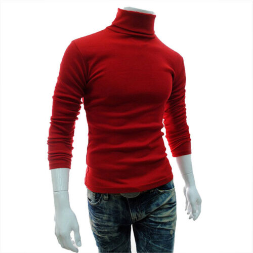 Men's Thermal Cotton Turtle Neck Skivvy Turtleneck Sweaters Tops Stretch T Shirt 9
