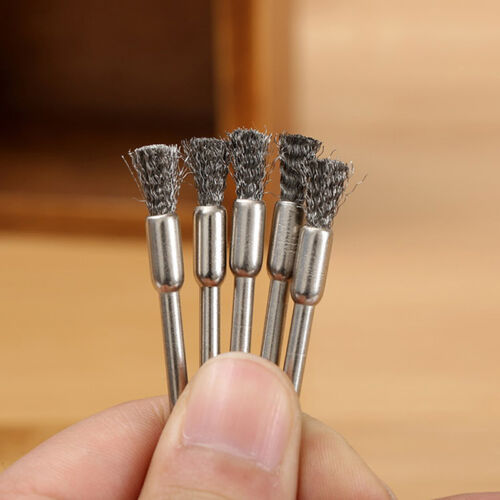 10x 3mm Rotary Steel Wire Wheel Brush Cup Tool Shank for Drills Rust Weld T6V5 2