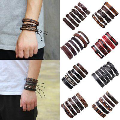 Fashion Mens Punk Leather Wrap Braided Wristband Cuff Punk Bracelet Bangle New 2