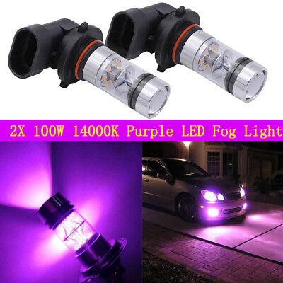 NEW 2x 9005 H10 9145 100W 14000K Purple LED Headlight Bulbs Kit Fog Light DRL