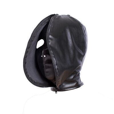 PU Leather Slave Restraint Head Mask Fetish Hood Zipper BDSM Sexy Adult Bondage 9