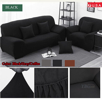 1-3 Seater Stretch Loveseat Sofa Couch Protect Cover Slipcover Washable Elastic 7