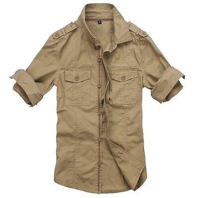 7ec00c5fd2 ... Men s Casual Slim Fit Military Style Long Sleeve Cotton Khaki Cargo  Jean Shirt 6