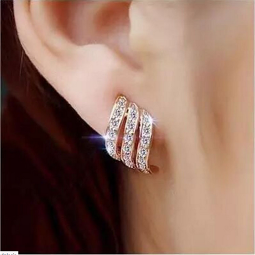 925Silver/Rose Gold Angel Wings White Sapphire-Studded Personality Stud Earrings 10