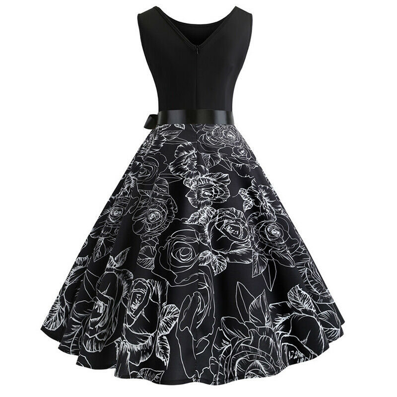 Womens 50s 60s Style Vintage Rockabilly Floral Pinup Swing Evening Party Dress 5