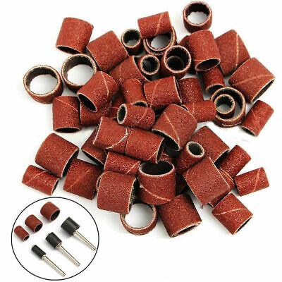 "63 x 1/2''1/4""3/8""Sanding Bands Sleeves 3 Mandrels Dremel Rotary Drill Tool Kit 7"