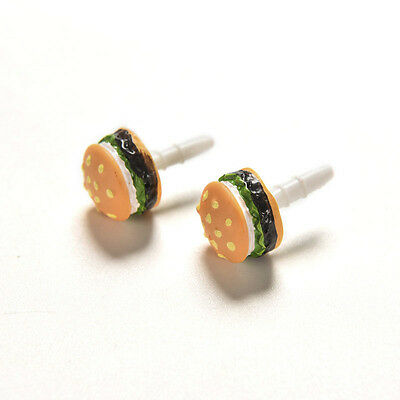 3.5mm Lovely Hamburger Anti Dust Earphone Plug Mobile Phone Accessories 2x CE5