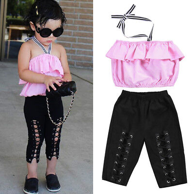 US Stock Toddler Kids Girls Off Shoudler Tops Pants 2Pcs Outfits Set Clothes