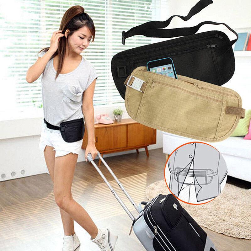 New Travel Waist Pouch for Passport Money Belt Bag Hidden Security Wallet Black 3