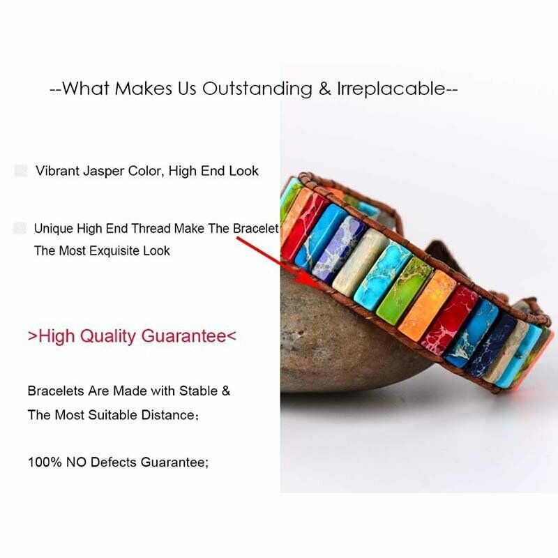 Chakra Natural Stone Tube Beads Bracelet Handmade Rope Wrap Bangle Jewelry Gifts 7