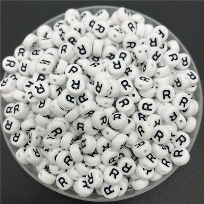 100pcs 4x7mm Oval Letter Beads Charms Bracelet Necklace For Jewelry Making 11