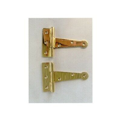 "4 polished small hinges vintage aged style solid Brass DOOR BOX heavy 4"" 9"