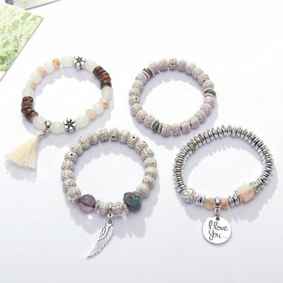 4Pcs I Love You Multilayer Natural Stone Crystal Bangle Beaded Bracelet Jewelry 6