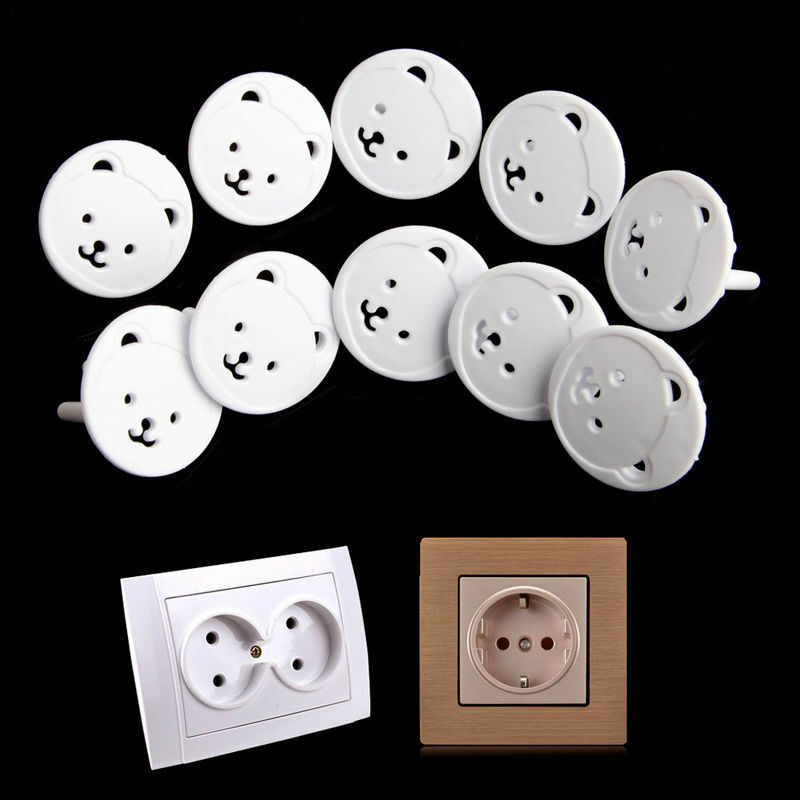 10pcs Power Kid Socket Cover Baby Child Protector Guard Mains Point EU Plug Bear 2