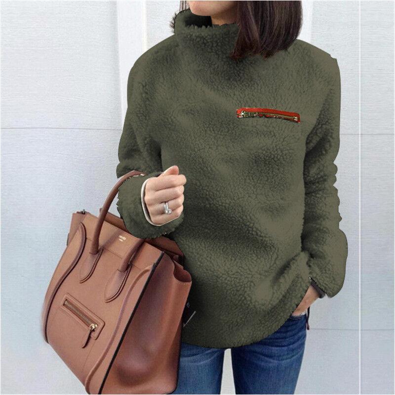 Women Fleece Fur Sweater Plus Size Long Sleeve Baggy Winter Tops Jumper Pullover 8