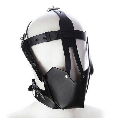 Hot Pu Leder Gimp Spielzeug Kopf Harness Hood Maske Gesicht MUZZLE Bondage Hood 6