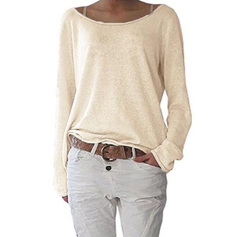 Women's Plain Long Sleeve T-Shirt Blouse Ladies Casual Loose Tops Shirts Tee UK 7