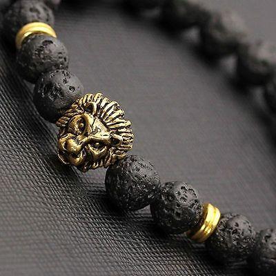 Men Fashion Black Lava Stone Gold&Silver Lion Beaded Cuff Charm Bangle Bracelet 6