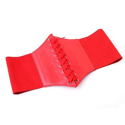 Ladies Waist Cincher Wide Band Elastic Tied Waspie Corset Leather Belt Uk Stock 10