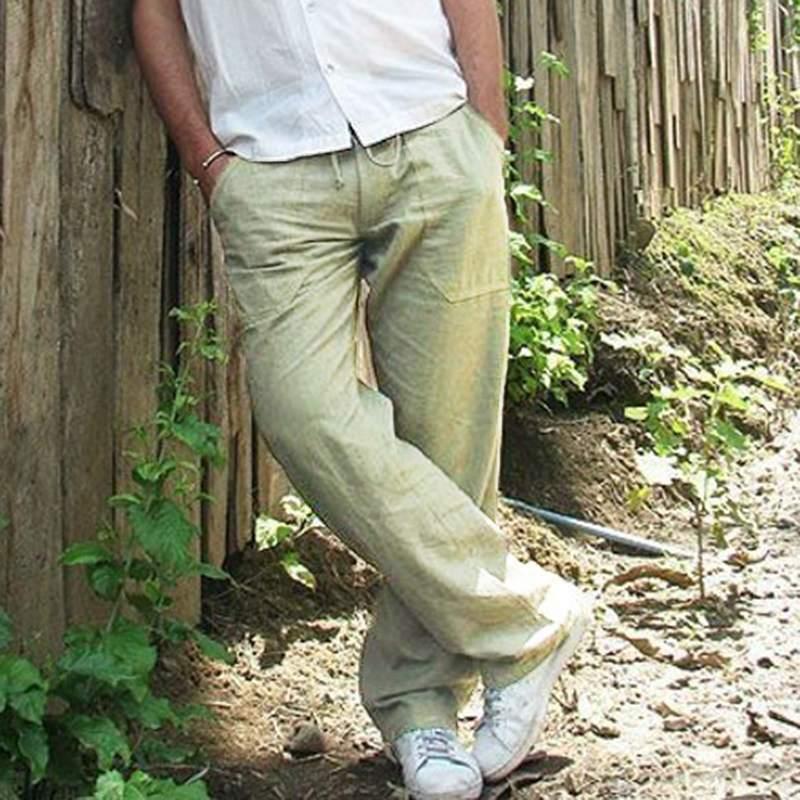 Mens Cotton Linen Loose Pants Summer Casual Beach Drawstring Trousers Slacks UK 7