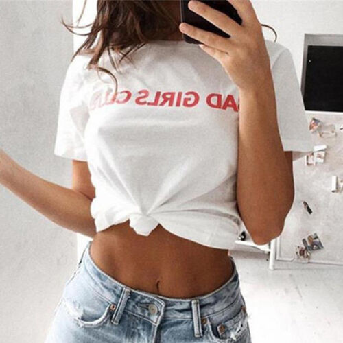 c2a529ef548 1 of 12FREE Shipping Women's Letter Print Casual Crop Top Summer Loose  Short Sleeve T Shirt Blouse