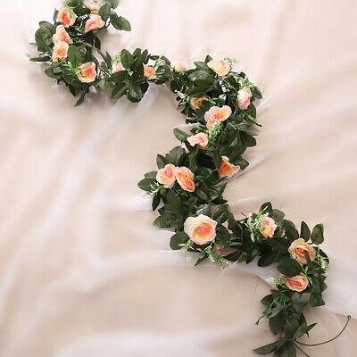 2.5m Artificial Flower Silk Rose Leaf Garland Vine Ivy Home Wedding Garden Deor 4