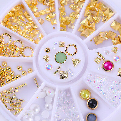 3D Nail Decoration in Wheel Rhinestones Studs Acrylic Tips Nail Art Manicure