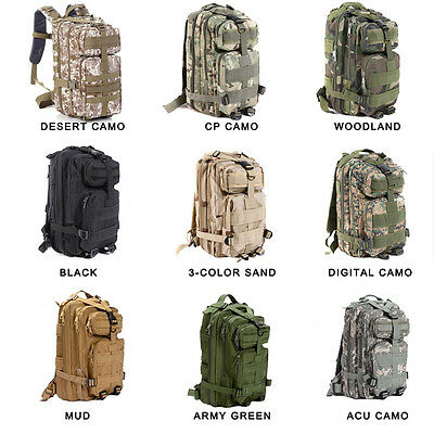 Hiking Camping Bag Army Military Tactical Trekking Rucksack Backpack Camo  30L 2