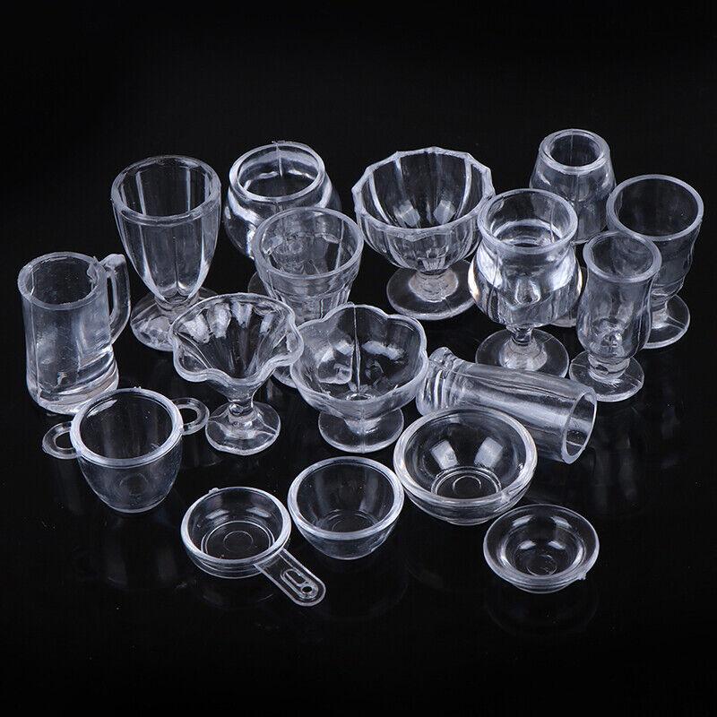 17Pcs/Set 1:12 Dollhouse Miniature Transparent Tableware DIY Kitchenware Toys 2