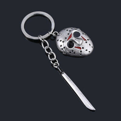Friday the 13th Jason Voorhees Hockey Mask Kinfe Keychain Metal Keyring Jewelry 2