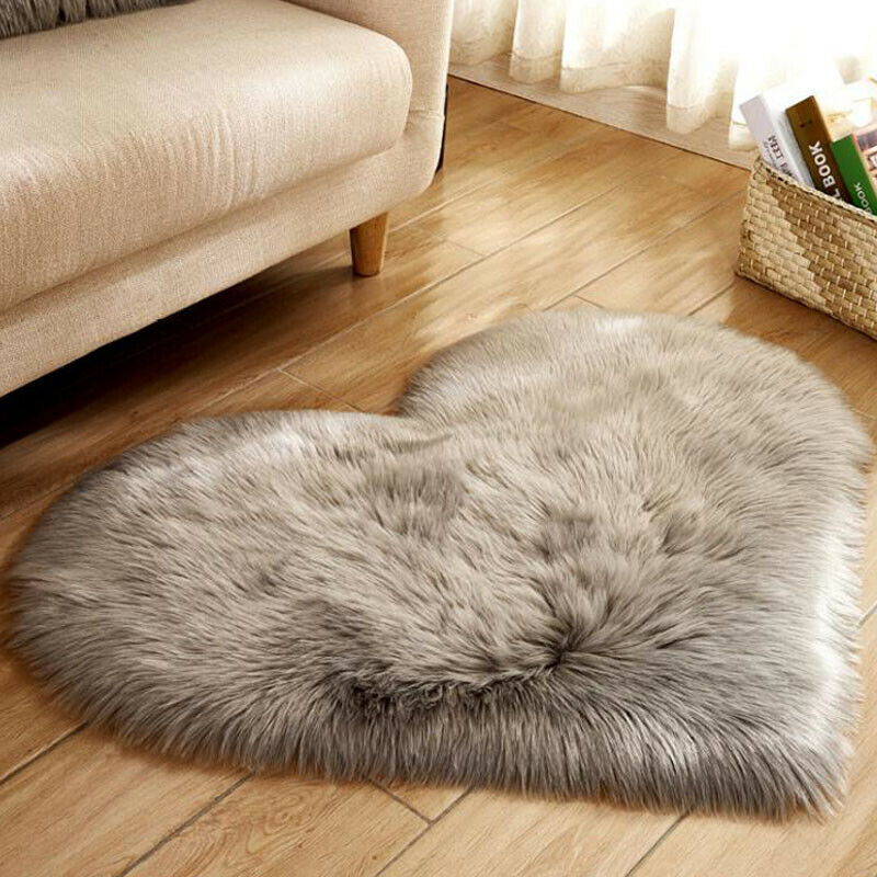 Heart Shaped Fluffy Rugs Anti-Skid Shaggy Area Rug Carpet Home Bedroom Floor Mat 11