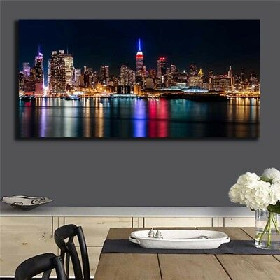 Oil Painting Modern Abstract On Canvas Unframed City Night View Huge Wall Decor 2