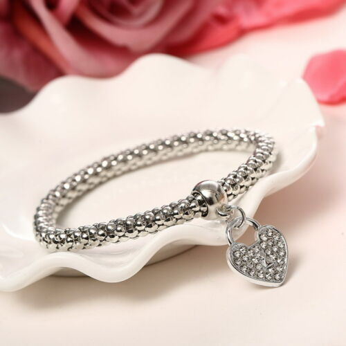 Fashion Women 3Pcs Gold Silver Rose Gold Bracelets Set Rhinestone Bangle Jewelry 6