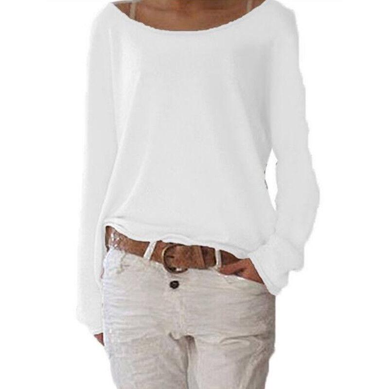 Women's Plain Long Sleeve T-Shirt Blouse Ladies Casual Loose Tops Shirts Tee UK 10