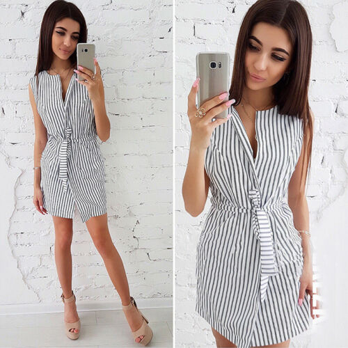 Fashion Women Striped Pattern Short Sleeve V Neck Lace Up Belt Dress B 4