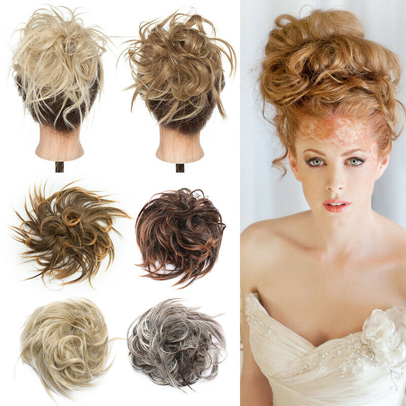 100% REAL Messy Bun Scrunchie Hair Extension Ponytail As Human Hair Piece Blonde 2