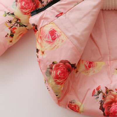 Toddler Baby Girls Floral Hooded Coat Outerwear Kids Jackets Warm Winter Clothes 12