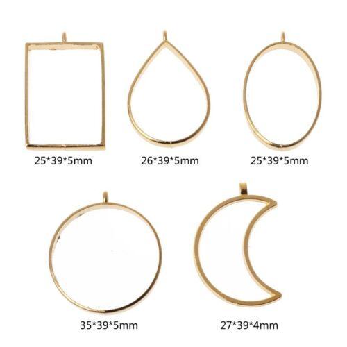 10Pcs Geometric Hollow Pressed Flower Resin Blank Frames Pendants Jewelry Making 3