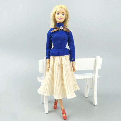 "Fashion Doll Clothes Top Blouses Chiffon Pleated Skirt For 11.5"" Dolls Clothes 4"