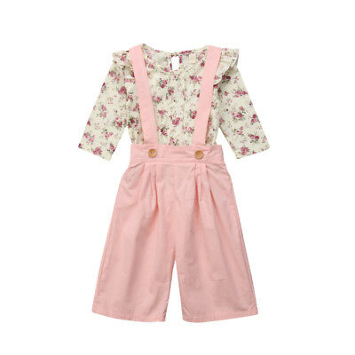 2PCS Toddler Kids Baby Girl Winter Clothes Floral Tops+Pants Overall Outfits AU 8