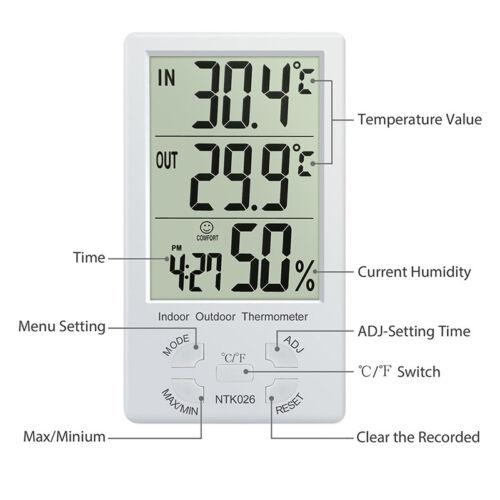 Indoor/Outdoor Thermometer Digital LCD Hygrometer Meter Temperature Humidity  IU 6