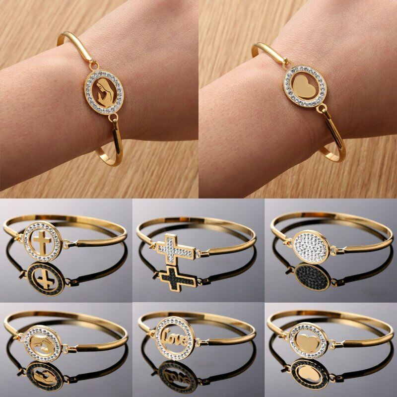 Mother Gold Stainless Steel Love Heart Women Cuff Bracelet Bangle Family Jewelry 2