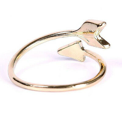 Magníficas mujeres anillos de oro plata ajustable flecha abierta anillo nudillo 5