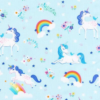 Happy little unicorns 100% cotton fabric by Robert Kaufman per FQT 5