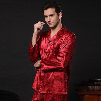 ee8d80187a ... NWT 2PCS Mens Silk Satin Pajamas Sleepwear Pyjamas PJS Long Sleeve M008 M  L 3