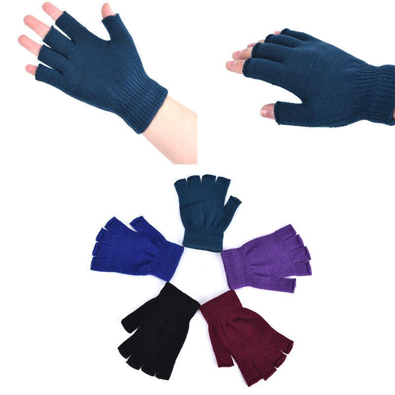 1 Pair Soft Half Fingerless Gloves Women Men Warm Knitted Mittens Couple _kz 2