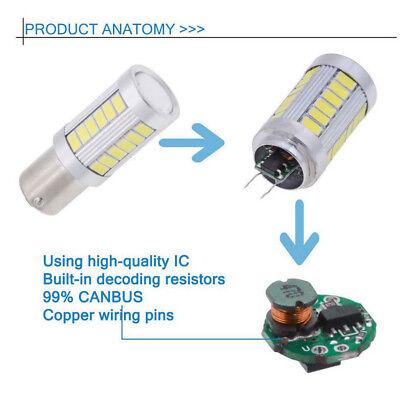 2PCS Bianco BA15D 33SMD LED 1157 Auto Coda Freno Stop Coda Lampadina Globo 12v 12